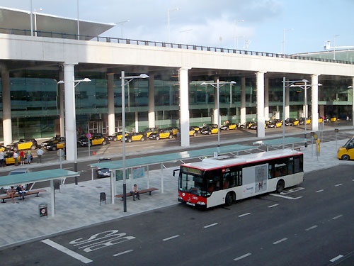 City bus stops in the terminal t1